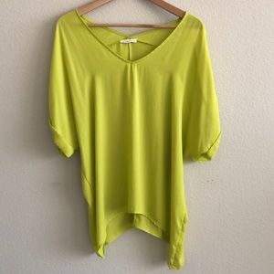 EUC Lush Bright Neon Green Blouse SZ Large
